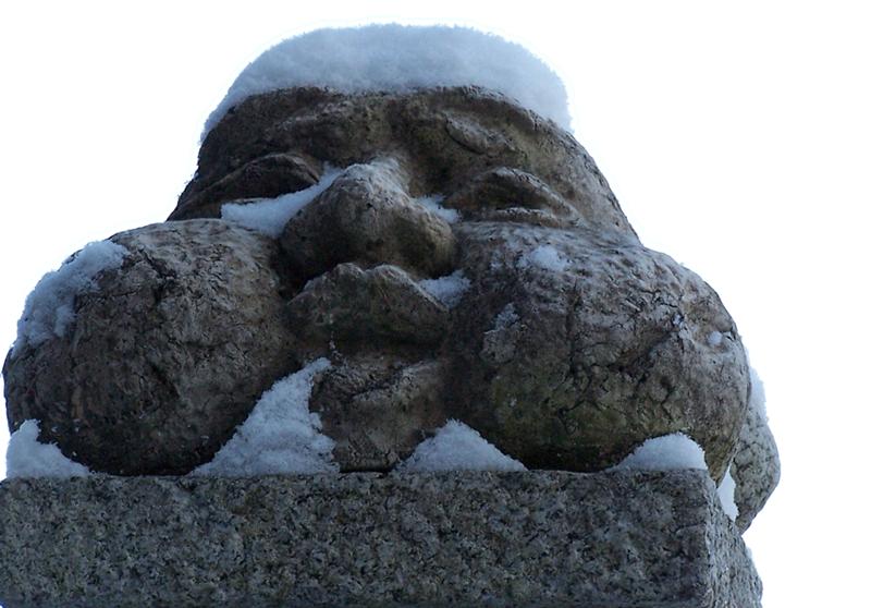 Essen Im Bild dicker Kopf aus Stein