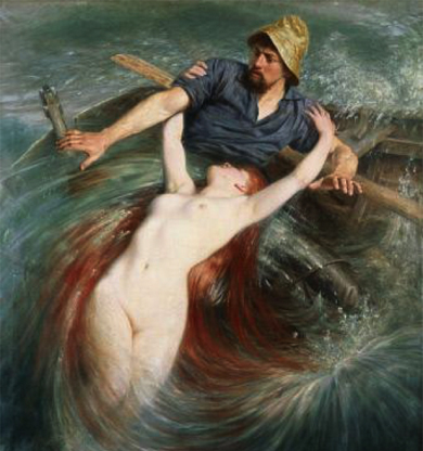 Seejungfrau zieht ihren Geliebten in die Tiefe